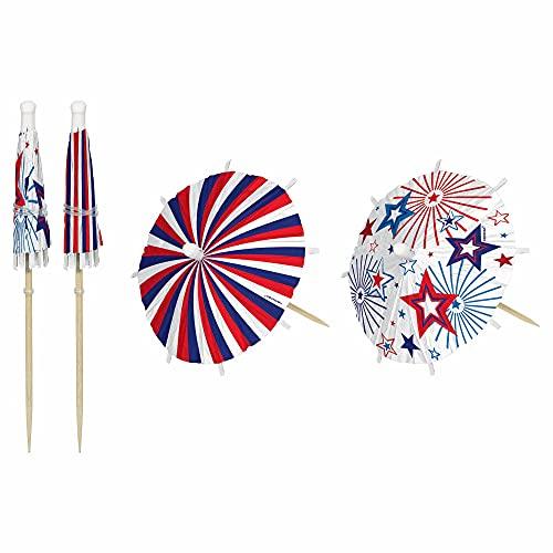 Patriotic Drink Umbrella Wood Picks (Pack of 24)
