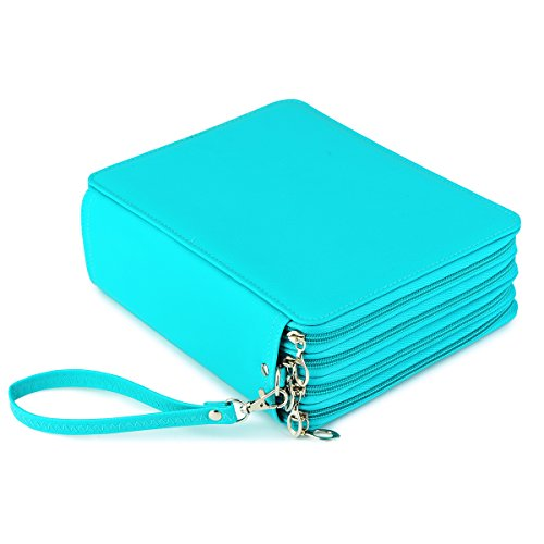 YOUNGCOL 184 Slot Colored Pencil Case - Deluxe PU Leather Pencil Holder Organizer(Green)
