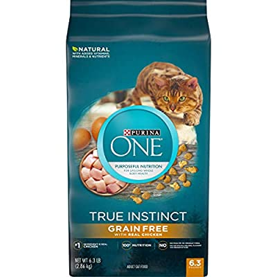 Purina ONE Natural, Grain Free Dry Cat Food, True Instinct Grain Free With Real Chicken - 6.3 lb. Bag