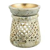 4 Inch Oil Warmer Aromatherapy Burner - Soapstone Tea Light Oil Burner - Wax Tart Warmer - Aroma Diffuser for Spa, Yoga, Meditation