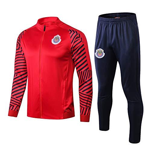 ZH~K Traje de entrenamiento de club de fútbol europeo para hombre, manga larga, transpirable, ropa deportiva (parte superior + pantalones) – A1234 sudaderas para hombre (color: rojo, tamaño: S)