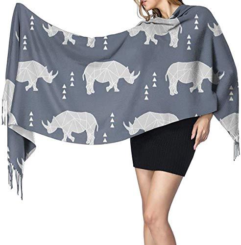 Rhino Geometrische Donkerblauwe zachte kasjmier sjaal Wrap sjaals lange sjaals voor vrouwen Office Party Reizen 68X196 cm