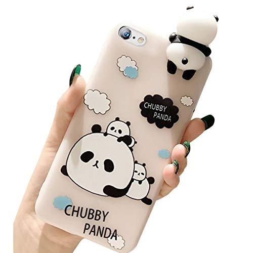 Ekakashop 3D Cartoon Panda Design Custodia Morbida per Paraurti in Silicone TPU, Custodia Protettiva Ultra Sottile e Flessibile Compatibile con iPhone 6/6S 4.7,Panda#3