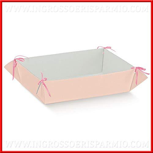 Cesto per bomboniere in cartone rosa perlato fai da te porta pensierini, disponibile in due dimensioni, nascita, battesimo, compleanno bambina, femmina (Grande-senza confezionamento)