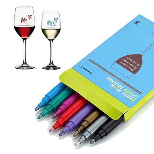 SAVORLIVING Wijnglas Marker Pen Erasable Glas Schrijven Pen Wasbaar Metallic Kleur Pens Pack van 8 Kleuren, Perfect voor Wijnproeverijen, Bruiloft, Verjaardag
