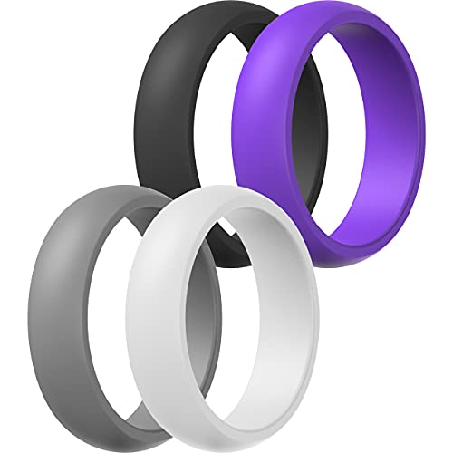 Womens Silicone Wedding Ring Band - 4 Rings Pack - 5.5mm Wide (2mm Thick)(Purple, Grey, Black, White, 10.5-11 (20.6mm))