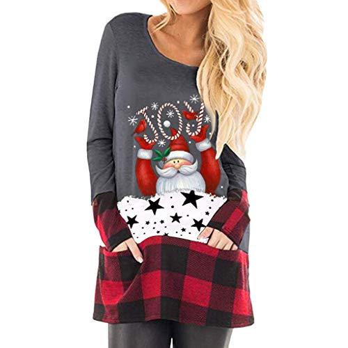 2019 NoëL Cadeaux Pas Cher Shirt Sweat Femme Automne Printemps Hiver Christmas Dessus De Manche Longue ÉPaule Hauts Chemisier Top Blouse T-Shirt Sweat SWEA-Shirt(Gris,XXXX-Large)