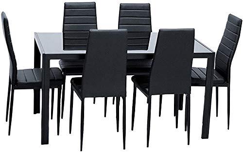 Mesa de comedor y silla, conjunto de mesa de comedor de vidrio y silla de cuero de 4 personas con 4 sillas,Black-6 people