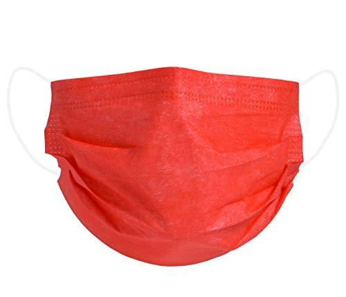 Mundschutz Maske Einweg Mund- Nasenbedeckung Gesichtsmaske 3-lagig Staubschutz Schutzmaske mit Ohrschlaufen schützt vor Verschmutzungen - 50 Stück rot (AM-03R1)