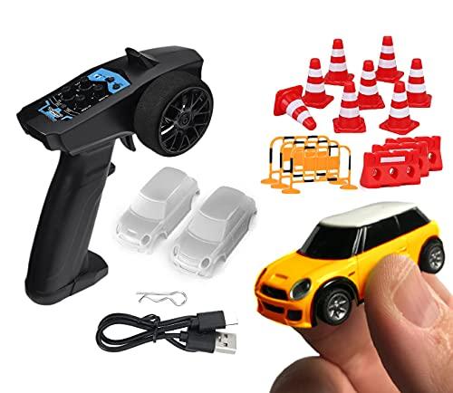 Mini Coche Radio Control Proporcional R/C Turbo Racing 1:76 Naranja Coche Teledirigido 2,4Ghz + Set 62 Obstáculos