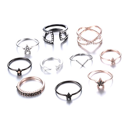 Gmai Bohemian Vintage Women Crystal Joint Knuckle Nail Ring Set of 10 pcs Finger Rings Punk Ring Gift (Star)