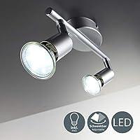 B.K.Licht - Lámpara de techo con 2 focos LED GU10, focos ajustables y giratorios para interiores, de luz blanca cálida, 3W y 250 lúmenes, 3000K, forma recta en barra, color titanio