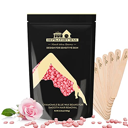 Lifestance 450g Wachsperlen Premium, Waxing Perlen mit 10 Holzspatel für Enthaarung, Rose Haarentfernung für Brazilian Waxing Ganzkörper Intim ,Gesicht, Körper, Beine und Arme