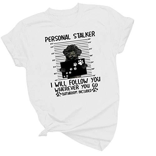 Routinfly Camiseta para mujer, camiseta de manga corta, camiseta de manga corta para mujer, con estampado animal, estilo informal