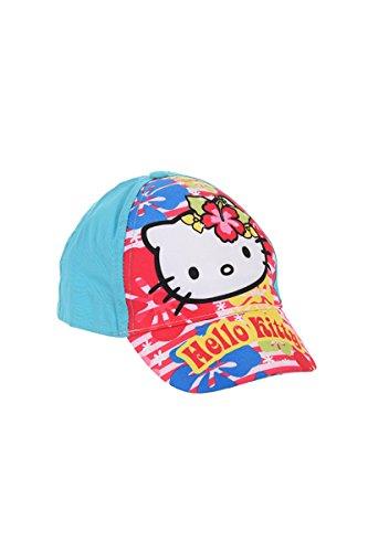 Hello Kitty Kappe, Baseball Cap, Schirmmütze für Kinder, Mädchen, 100% Baumwolle mit Klettverschluss verstellbar (52, Türkis)