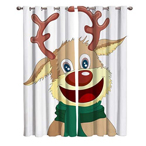 NTBDWOSQ® Cortina 3D De Dormitorio Reno De Dibujos Animados De Navidad 220X215 Cm (Ancho X Alto),Adecuado para Dormitorio Sala De Estar Habitación Infantil Cortinas Opacas 2 Paneles - Cortinas