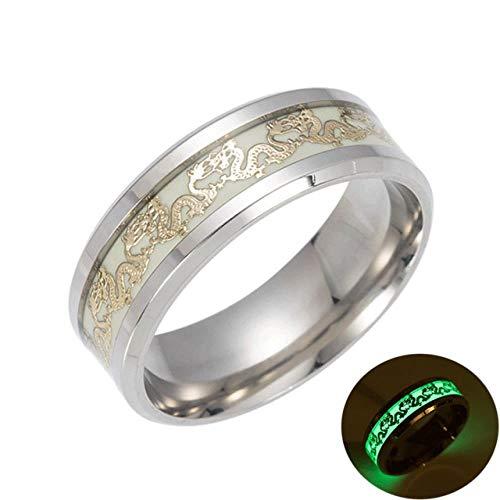 JIANGYA Luminous Plated Silberring Dark Golden Inlay Grüner Hintergrund Herren Fluorescent Glowing Rings, 12, Silber