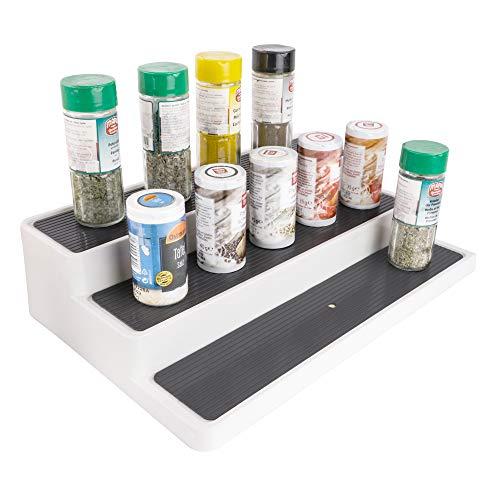 UPP Ausziehbares Küchenregal mit 3 Etagen I Ordnungssystem Sortiert Gewürzgläser im Küchenschrank oder auf Arbeitsplatte I Nischenregal für Küche & Bad