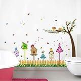 Flores hierba zócalo pegatinas de pared cerca del jardín dibujos animados pájaro birdhouse árbol mariposa pegatina niños habitación cocina decoración calcomanías 85 * 60 cm
