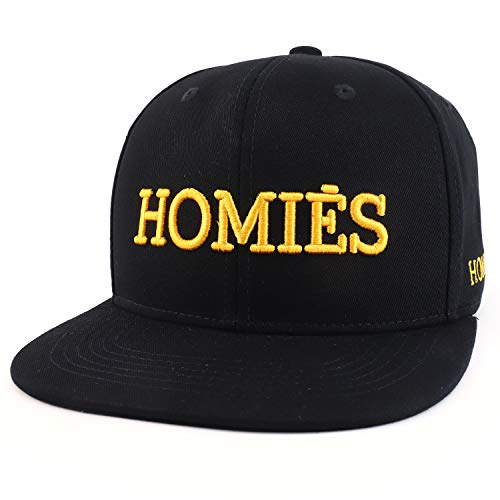 Trendy Apparel Shop Homies 3D Embroidered Flatbill Snapback Baseball Cap - Black