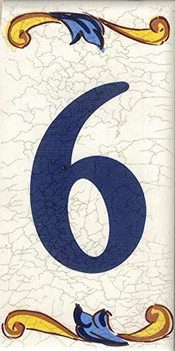TORO DEL ORO Números casa. Numeros y Letras en azulejo. Calca cerámica. Estilo craquelé. Nombres y direcciones. Diseño Craquelé Mediana 5x10 cms (Número seis