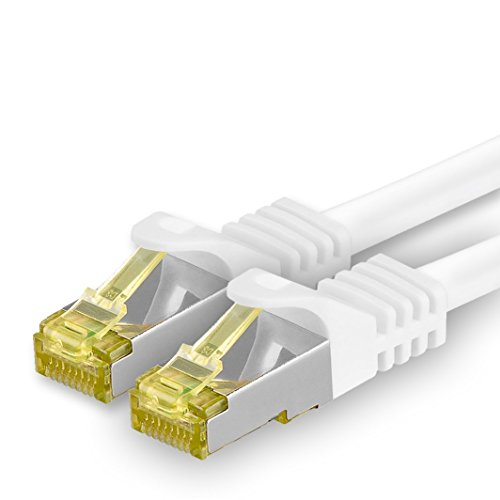 1aTTack.de Cat.7 netwerkkabel - Cat7 ethernetkabel netwerk internet DSL modem router hub patchkabel LAN-kabel ruwe kabel 10 Gb/s (SFTP PIMF LSZH) set patchkabel met Rj 45 stekker Cat.6a 0,5m wit - 1 stuk