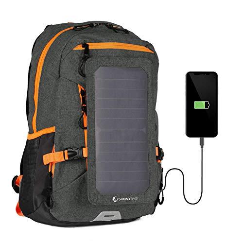 SunnyBAG Explorer+ Sac à Dos Solaire | Le Panneau Solaire Le Plus Puissant au Monde pour Charger des Smartphones en déplacement | 15l Volume et Compartiment pour Ordinateur Portable | Noir-Orange