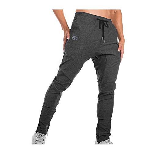 Brokig - Pantaloni da ginnastica da uomo, stile casual, vestibilità slim fit, adatti per la corsa, con doppie tasche Grigio. M