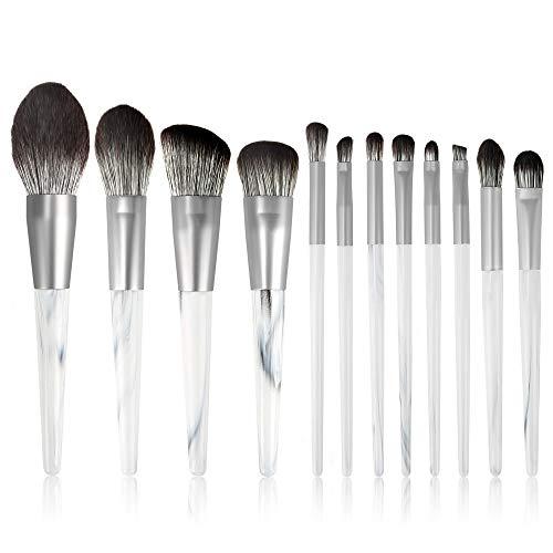 HFDXG Lot de 12 pinceaux de maquillage pour fard à paupières, fond de teint, maquillage professionnel, Fibre synthétique., Blanc, 12 Pcs