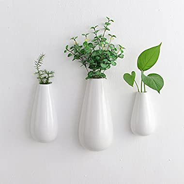 3 PCS White Ceramic Wall Mounted, Hanging or Freestanding Decorative Flower Planter Vase Holder Display