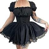 Women Gothic Vintage Punk Dresses Layered Lace-up Puff Sleeve Princess Mini Dress Cosplay...