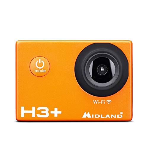 Midland, Videocamera sportiva H3 + Action Camera Wi-Fi Full HD, foto da 16 MP, batteria inclusa, stabilizzatore d immagine Unisex adulto, Arancione, unica