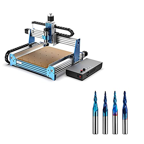 Genmitsu CNC Router Machine PROVerXL 4030 with GRBL Control + 4PCS 2-Flute Tapered Ball Nose Spiral End Mill (1/4'' Shank)