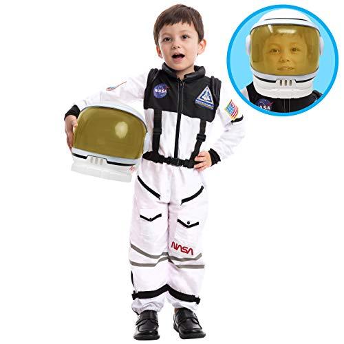 Astronaut NASA Pilot Kostüm mit beweglichem Visierhelm für Kinder, Jungen, Mädchen, Space Kostüm Outfit Rollenspiel für Halloween Party Cosplay Schulklassenzimmer Bühnenperformance (Small, Silver)