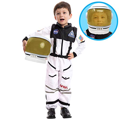 Astronaut NASA Pilot Costume with Movable Visor Helmet for Kids Small (5-7yr)