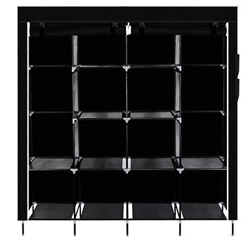 Armario no tejido con 4 filas de pies altos con 4 bolsillos laterales Estante portátil de almacenamiento de armario de 66 pulgadas (alrededor de 67 pulgadas) negro