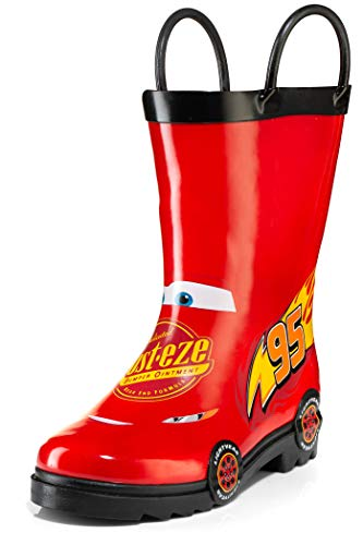 Disney Cars Kids Lightening Mcqueen Rust eze Boys Waterproof Easy-On Red Rubber Rain Boots - Size 8 Toddler