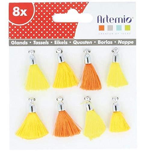 Artemio set DE8 pompons bekers, textiel, geel, 12,5 x 1 x 12,5 cm