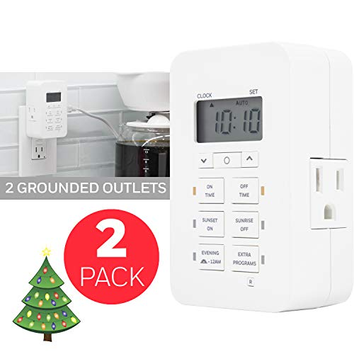 Honeywell Daysmart Indoor 7-Day Plug-in Digital Timer 2 Pack, Custom Settings, Presets/Countdown, 2 Grounded Outlets, Battery Backup, Ideal for Lamps, Small Fixtures, Seasonal Lighting, LED, 46213