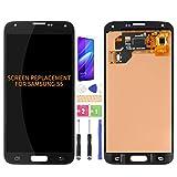 Para Samsung Galaxy S5 G900 G900MD G900A Pantalla LCD de Reemplazo de Digitalizador de Cristal Kit de Montaje de Cristal, Película Templada, Pegamento y Herramientas (Negro)
