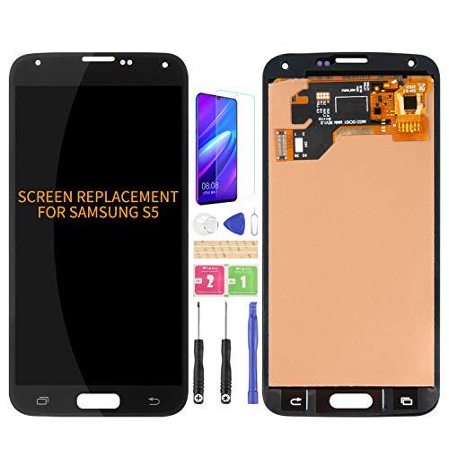 Per Samsung Galaxy S5 G900 G900MD G900A Schermo LCD Digitizer Kit di montaggio in vetro, pellicola temperata, colla e strumenti (nero)