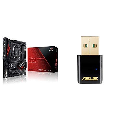 Asus ROG CROSSHAIR VII HERO Scheda Madre ATX, Socket AM4, AMD X470, Supporto Processore Ryzen 2nd Gen, Nero, Senza Wi-Fi + USB-AC51 Adattatore USB AC600, 433+150Mbps, Compact