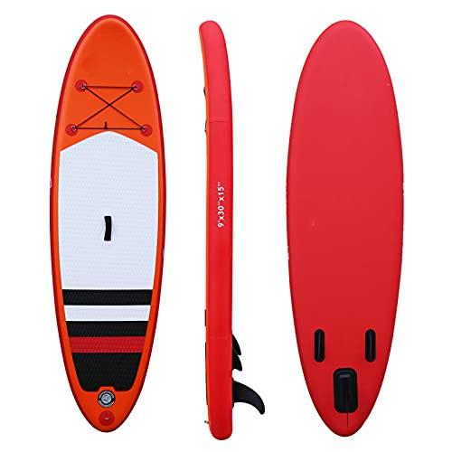 Tabla Inflable Stand Up Paddle Board Tabla De Surf Tabla Sup 9 '* 30'* 6' con Bolsa De Transporte Ajustable Kit De Reparación De Bomba Manual Aleta Extraíble para Todos Los Niveles