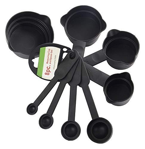 Whopper Plastik Messbecher und Löffel Set mit Ringhalter zum Backen, Kochen, Kuchen 8-teiliges Set