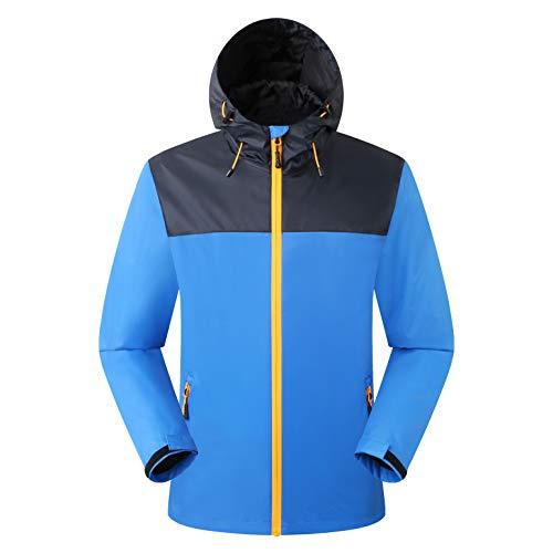 Amazon Marke: Eono Essentials Herren wasserfeste Jacke mit fester Kapuze, Blau (Victoriablau), Gr. M