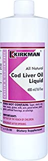 Kirkman Cod Liver Oil Liquid - Unflavored | 473 ml/ 16 fl oz | Gluten Free | Casein Free | Omega-3 fatty acids