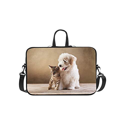 Laptop Sleeve Best Friends Kitten Small Fluffy Dog Waterproof Laptop Shoulder Messenger Bag Pouch Bag Case Tote with Handle Fits 14 Inch Netbook/L