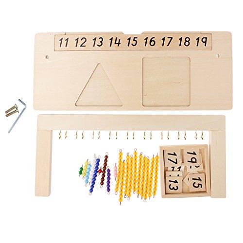 P Prettyia Juguetes Matemáticos, Tarjetas de Números 11-19 Y Juego de Cuentas de 1 a 10,