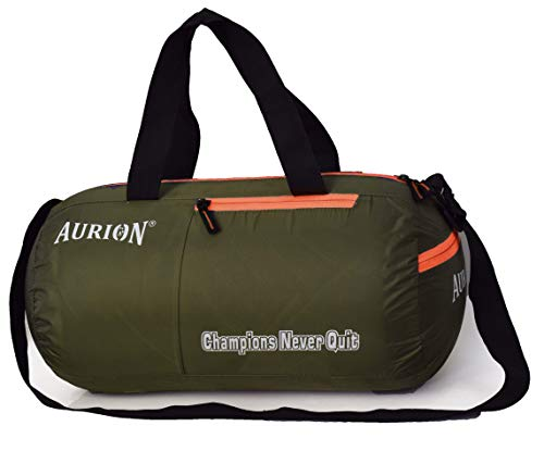 Borsa a tracolla da palestra, leggera borsa sportiva per weekend da viaggio, OliveGreen-Arancione,