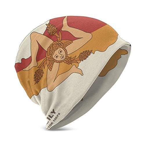 Qefgjbw Gorro de invierno con diseño de la bandera de Sicilia, diseño de mapa de la isla de Sicilia